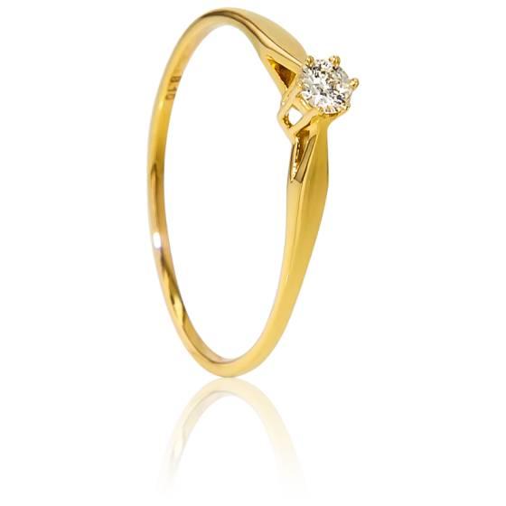 Bague Solitaire Venise Or Jaune & Diamant 0,10ct