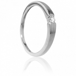 Bague Solitaire Capri Or Blanc & Diamant 0,06ct