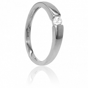 Bague Solitaire Capri Or Blanc & Diamant 0,08ct