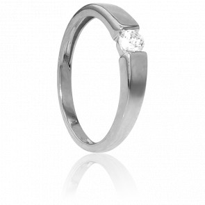 Bague Solitaire Capri Or Blanc & Diamant 0,18ct