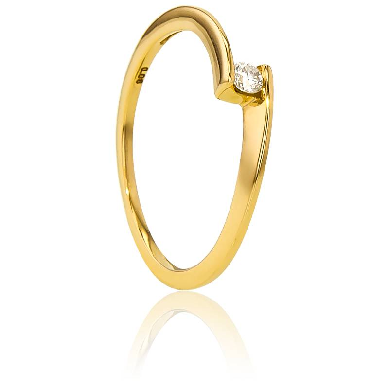 Bague Solitaire Apesanteur Or Jaune & Diamant 0,06ct