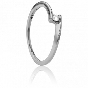 Bague Solitaire Apesanteur Or Blanc & Diamant 0,06ct