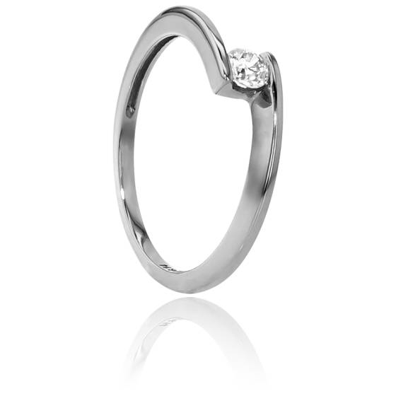 Bague Solitaire Apesanteur Or Blanc & Diamant 0,14ct