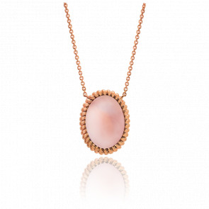 Collier Berlingot Maxi Or Rose Quartz Rose