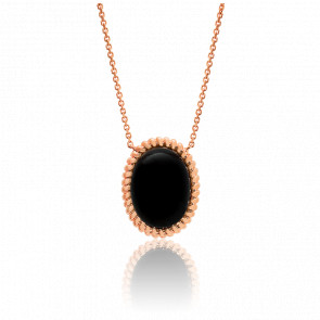 Collier Berlingot Maxi Or Rose Onyx