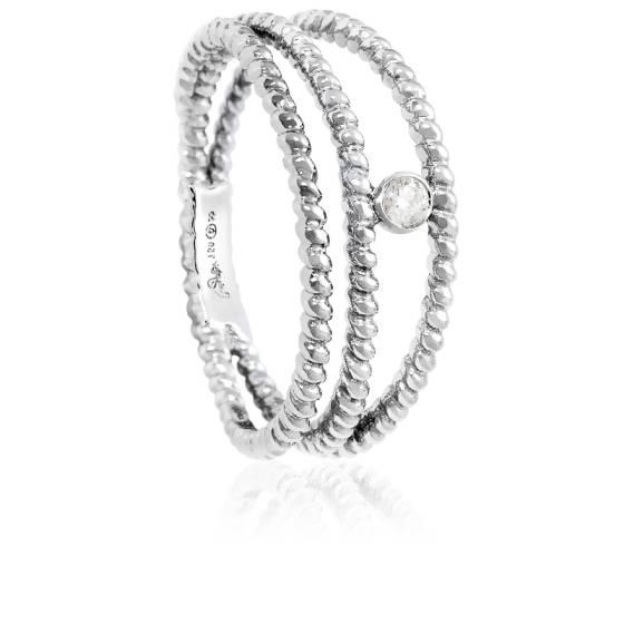 Bague Diamini 3 rangs Or Blanc Diamant