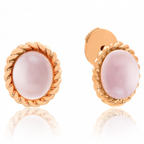 Puces d'oreilles Berlingot Mini Or Rose Quartz Rose