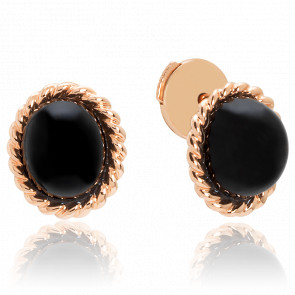 Puces d'oreilles Berlingot Mini Or Rose Onyx