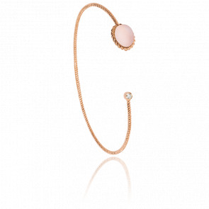 Bracelet Jonc Toi et Moi Berlingot Mini Or Rose Quartz Rose