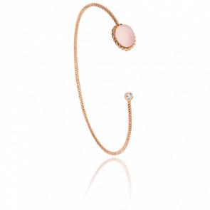 Bracelet Jonc Toi et Moi Berlingot Mini Or Rose Quartz Rose - Lovingstone