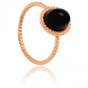Bague Berlingot Mini Or Rose Onyx