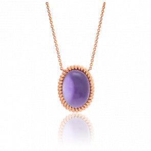 Collier Berlingot Maxi Or Rose Amethyste