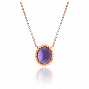 Collier Berlingot Mini Or Rose Amethyste