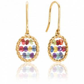 Boucles d'oreilles Briolette Or Jaune Pierres Multicolores