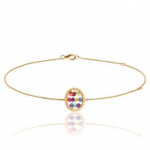 Bracelet Briolette Or Jaune Pierres Multicolores