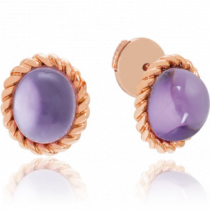 Puces d'oreilles Berlingot Mini Or Rose Amethyste