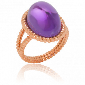 Bague Berlingot Maxi Or Rose Amethyste