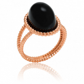 Bague Berlingot Maxi Or Rose Onyx