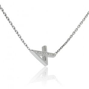 """Collier Chiffre """"4"""" Argent et Diamants"""