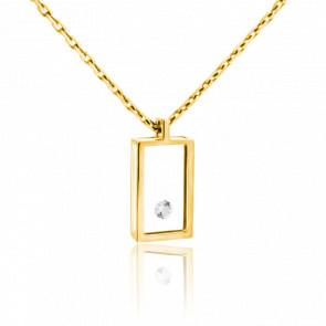 Collier Micro Rectangle or jaune et diamant 0.03 carat
