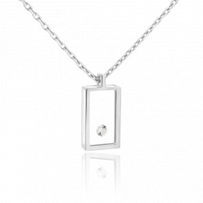 Collier Micro Rectangle Or Blanc 18K & Diamant 0.03 carat
