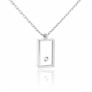 Collier Micro Rectangle or blanc et diamant 0.03 carat