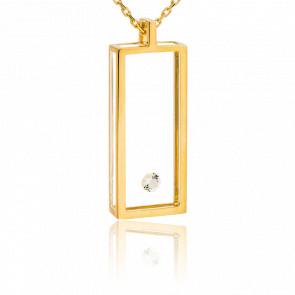 Collier Rectangle or jaune et diamant 0.08 carat