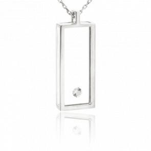 Collier Rectangle or blanc et diamant 0.08 carat