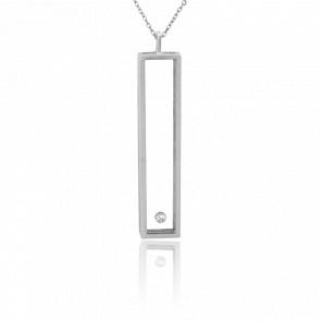 Collier Rectangle L Argent et Diamant 0.10 carat