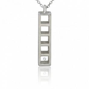 Collier Cage argent et diamant 0.01 carat