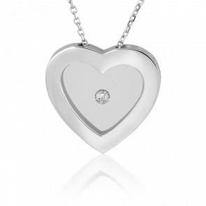 Collier Coeur argent et diamant 0.05 carat - Pascal Morabito