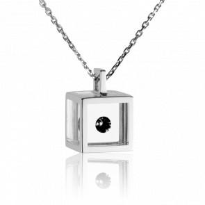 Collier Cube Argent et Diamant Noir 0.08 carat