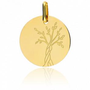 Médaille Arbre de Vie Tronc Torsadé Or Jaune 9K