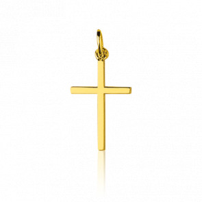 Croix Section Carrée Or Jaune 18K