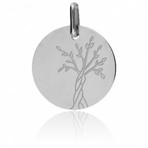 Médaille Arbre de Vie Tronc Torsadé Or Blanc 18K