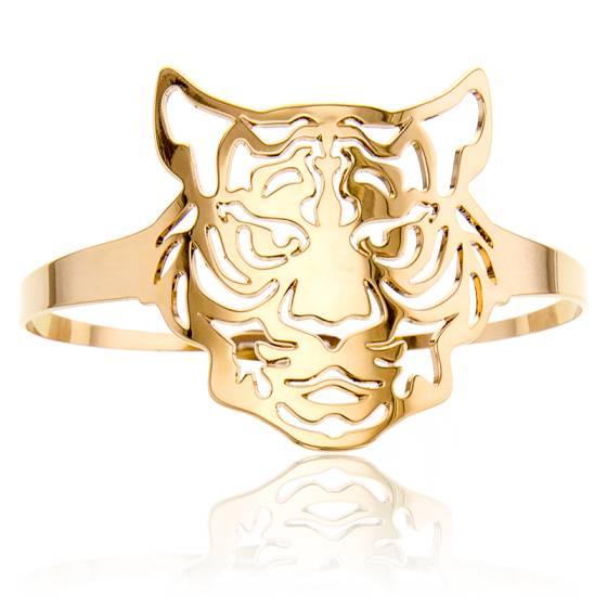 Bracelet Manchette Tête de Tigre Plaqué Or Jaune