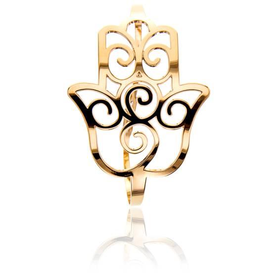 Bracelet Manchette Main de Fatma Plaqué Or Jaune