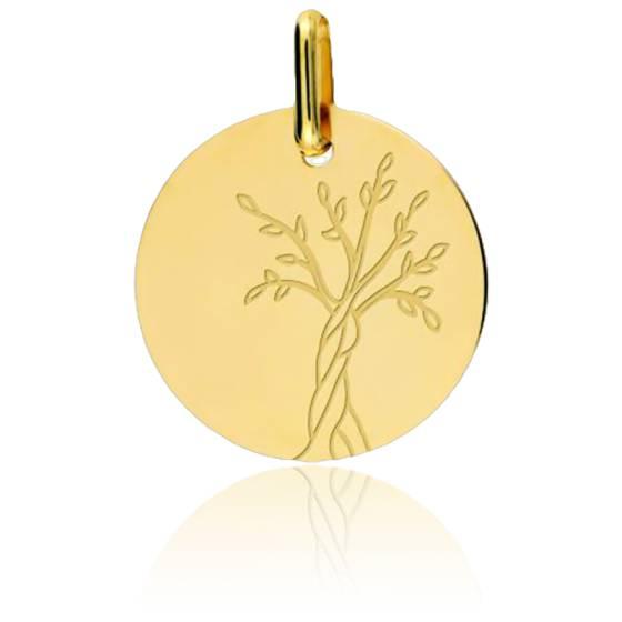Médaille Arbre de Vie Tronc Torsadé Or Jaune 18K