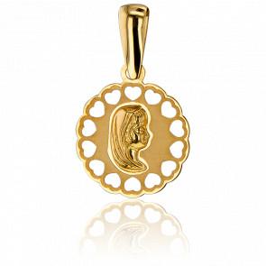 Médaille Vierge, Cœurs Ajourés Or Jaune 9K