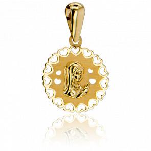 Médaille Vierge En Prière Cœurs Ajourés Or Jaune 9K