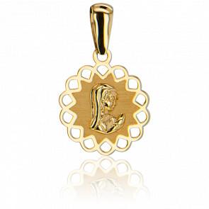 Médaille Ajourée Étoilée Vierge Or Jaune 9K