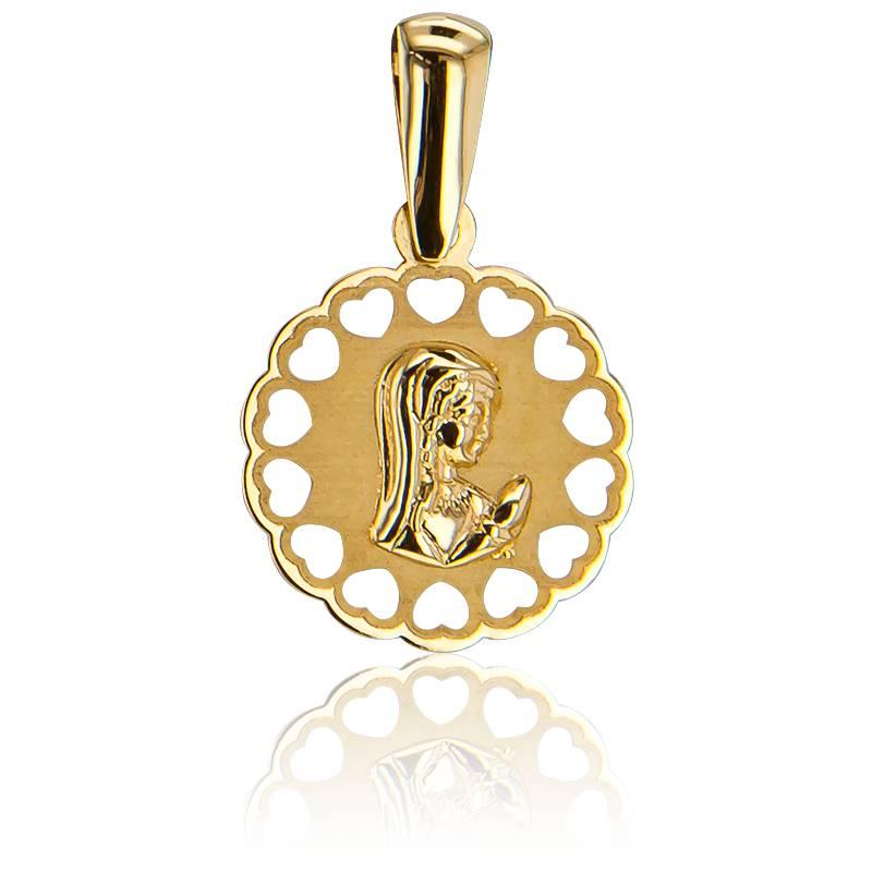 Médaille Ajourée Cœurs, Vierge Voilée Or Jaune 9K
