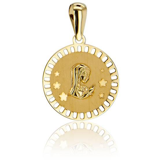 Médaille Vierge En prière, Fleurs Ajourées Or Jaune 18K