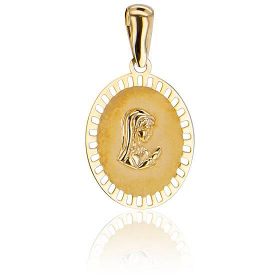 Médaille Ovale Ajourée, Vierge En prière Or Jaune 9K