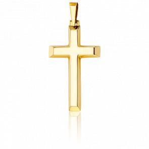 Croix Biseautée Creuse 36 x 20,5  mm Or Jaune 18K - Vandona