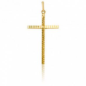 Croix à Section Carrée Striée 29 x 16,5 mm Or Jaune 18K