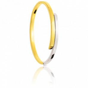 Bracelet Fil Rectangulaire Creux 2 Ors 18K