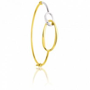 Bracelet Double Elipse 2 ors fil rond creux en or 18 carats