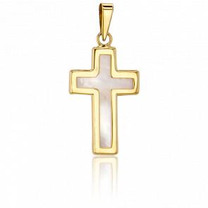 Croix Nacrée 21 x 13,3  mm Or Jaune 18K