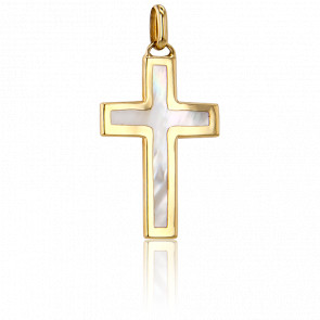 Croix Nacrée 27 x 17,3  mm Or Jaune 18K - Vandona